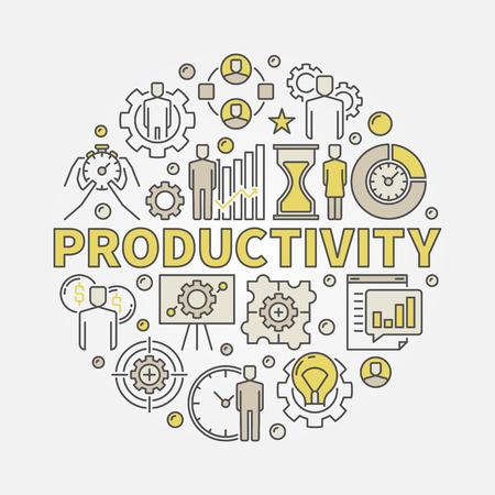 Productivité ronde illustration colorée. Symbole de concept plat vecteur faite avec mot Icônes de productivité et d'affaires