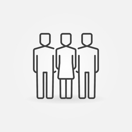 two men: Woman with two men icon. Vector outline business team concept symbol. Friends linear sign Illustration