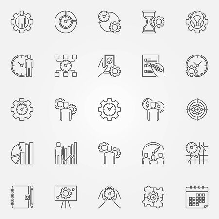 enhancement: Productivity line icons set. Vector time management concept symbols in thin line style