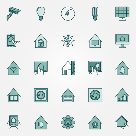 Smart home colorful icons set. Vector creative collection of smart house technology system symbols Vectores