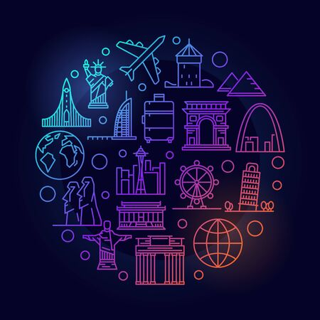 Travel round colorful illustration. Vector thin line air travelling and tourism minimal symbol made with landmark and plane icons on dark background Illustration