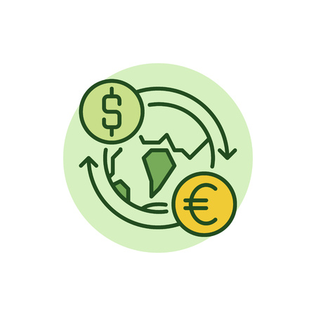 convert: Dollar to Euro convert flat icon. Vector currency exchange worldwide concept colorful sign