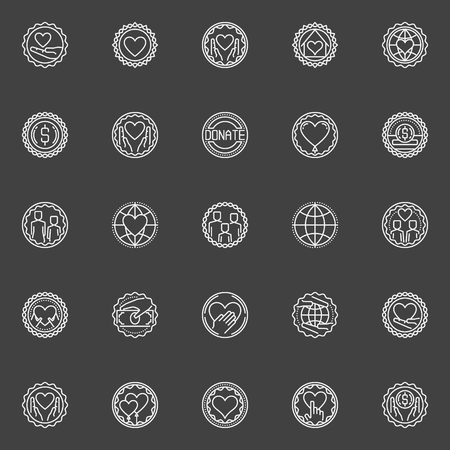 charity collection: Donation and fundraising vector badges. Collection of support and care linear concept symbols. Charity outline emblems on dark background