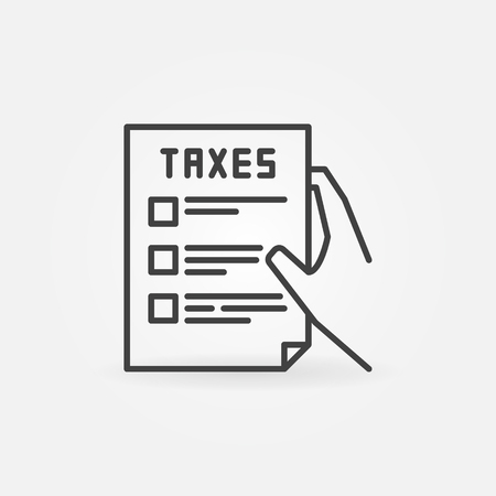 tax form: Hand holding tax form line icon. Vector minimal taxation concept symbol or logo element