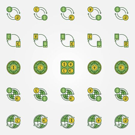 Colorful Currency Exchange Icons Vector Dollar Euro Ruble
