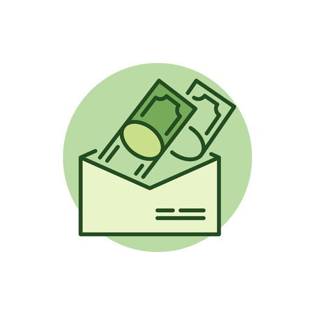 receiving: Money in envelope colorful icon. Vector receiving and giving cash symbol or logo element Illustration