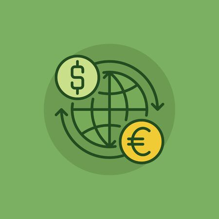convert: Euro to dollar convert green icon. Vector international money exchange flat symbol. USD to EUR colorful minimal sign