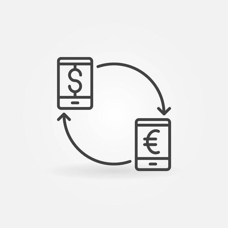 stylized banking: Smartphone currency converter icon. EUR to USD convert concept symbol or logo element in thin line style