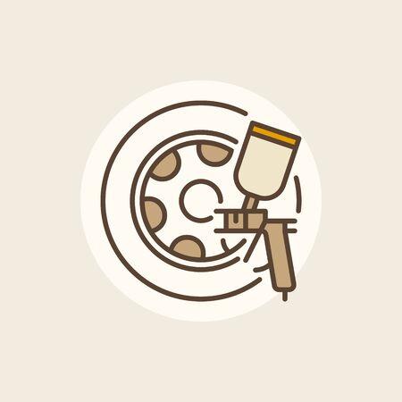 rim: Wheel paints icon. Vector rim paint colorful sign or logo element