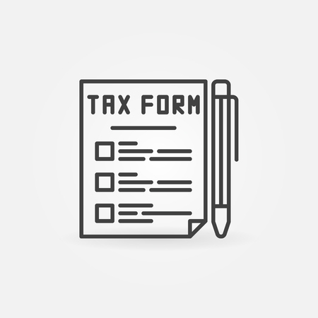 tax form: Tax form line icon. Vector outline tax document with a pen concept symbol or logo element in thin line style