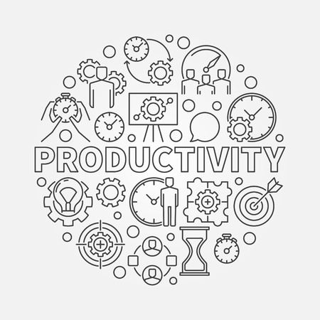 productivity: Productivity line round illustration. Vector modern business productivity circular symbol in thin line style Illustration