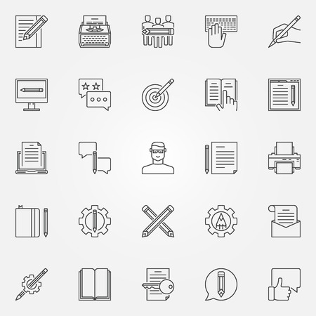 Copywriting icons set. Vector writing and text rewriting concept symbols or logo elements in thin line style