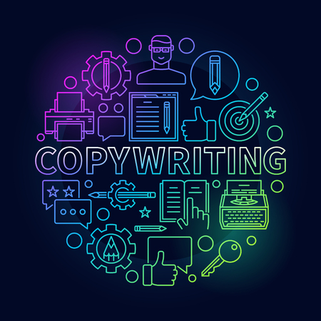 Copywriting round bright illustration. Vector colorful sign made with outline writing and blogging icons and word copywriting on dark background