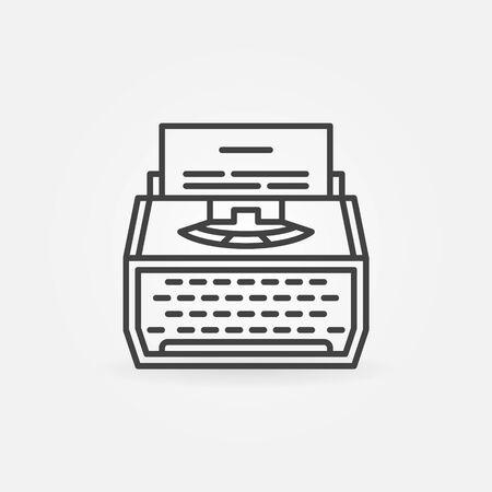 Typewriter line icon. Vector minimal copywriting concept symbol Illustration