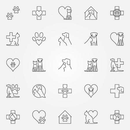 Veterinaire pictogrammen of logo-elementen. Vectorinzameling van dierenarts en huisdierenconceptenteken in dunne lijnstijl
