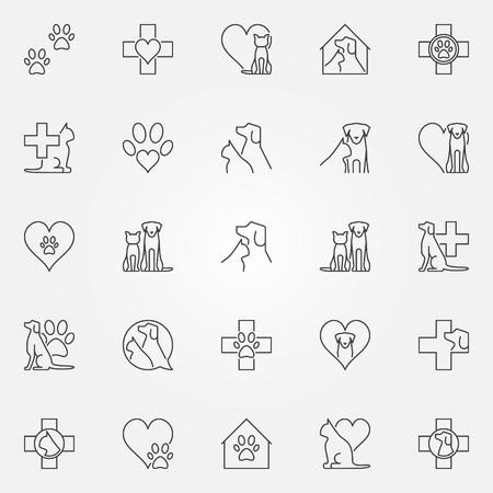 Veterinary icons or logo elements. Vector collection of vet and pet concept sign in thin line style