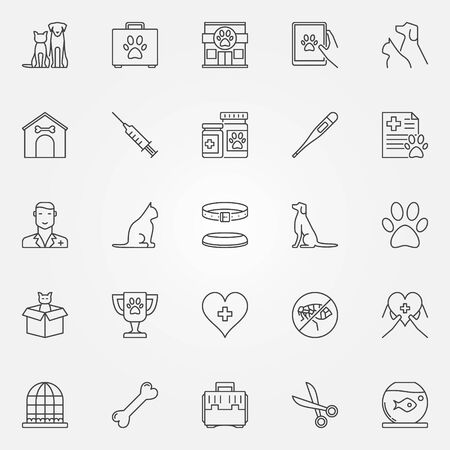 Veterinary line icons. Vector set of vet, pet and veterinary clinic creative symbols in thin line style 矢量图像