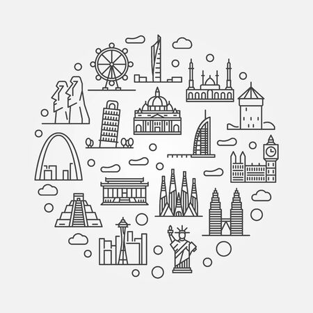 ferriswheel: Travel round illustration. Vector thin line creative symbol made with famous landmarks and monuments icons Illustration
