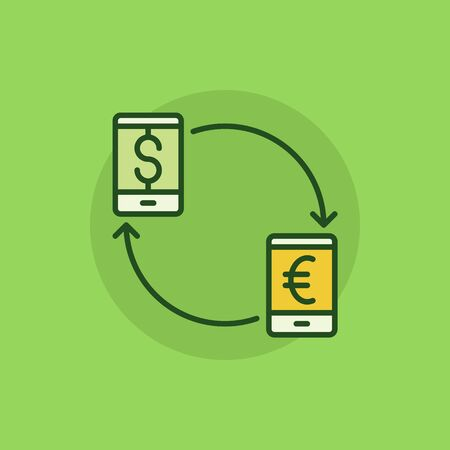 convert: Smartphone currency converter colorful icon. EUR to USD convert concept flat symbol