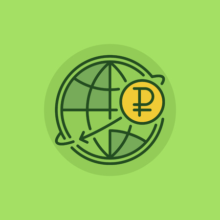 rub: Russian international money transfer flat icon. Ruble currency concept symbol on green background. RUB with globe sign or logo element