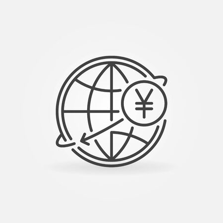 japanese yen: Yen international money transfer icon. JPY currency concept symbol in thin line style. Yen with globe linear sign or logo element