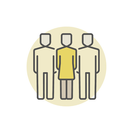 two men: Woman with two men colored icon. Vector colorful business team concept symbol. Friends creative sign