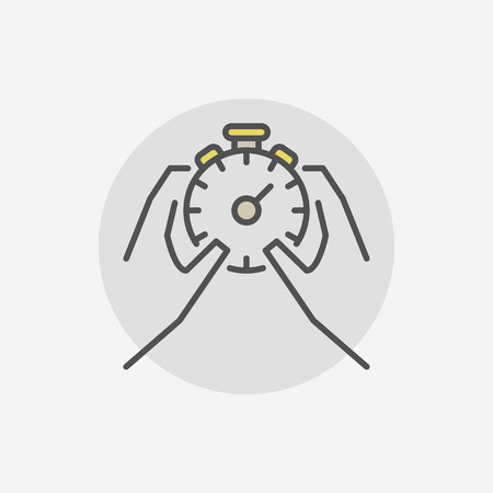 cronometro: Stop stopwatch in hands icon. Vector time management symbol or logo element on gray background