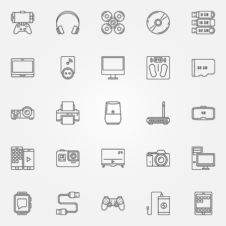 Gadgets icons set. Vector collection of tablet, smartphone, headphones, printer and other devices concept signs in thin line style