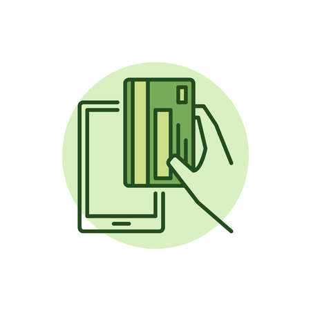 rounde: Smartphone payment colorful icon. Vector mobile payment minimal sign. Hand holding green credit card symbol Illustration