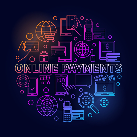 Online payments bright illustration. Buy online colorful circular outline sign. Vector round online payment concept symbol on dark background