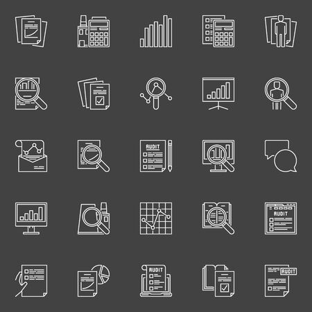 auditing: Financial audit line icons. Vector collection of analysis and auditing linear concept symbols on dark background