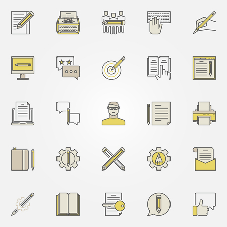 rewriting: Content writing icons. Vector colorful typewriting, blogging copywriting concept symbols