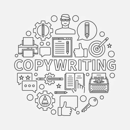 Copywriting round line illustration. Vector sign made with writing and blogging icons and word COPYWRITING in thin line style