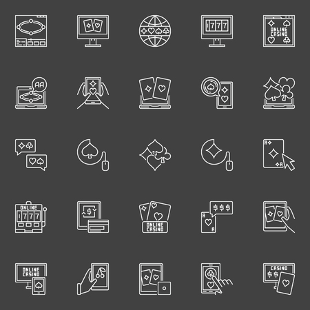icons: Online poker and casino icons. Vector collection of outline cards, poker chips and other gambling signs on dark background