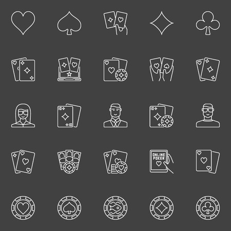 hand holding playing card: Thin line poker icons