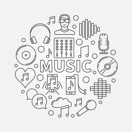 Music line round illustration Illustration