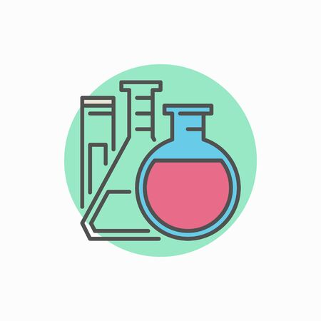 flasks: Flasks with test tube colorful icon