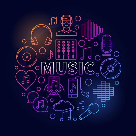 Music dark round illustration