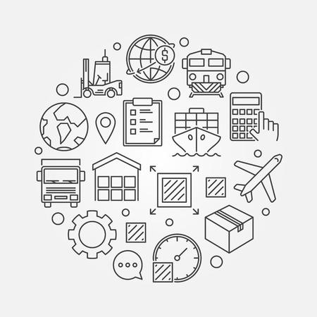 global logistics: Global logistics circular symbol