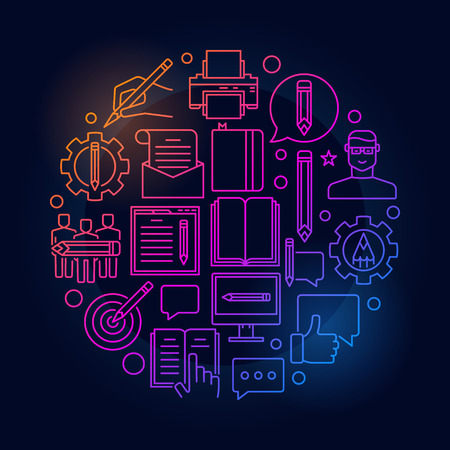 Blogging round bright illustration