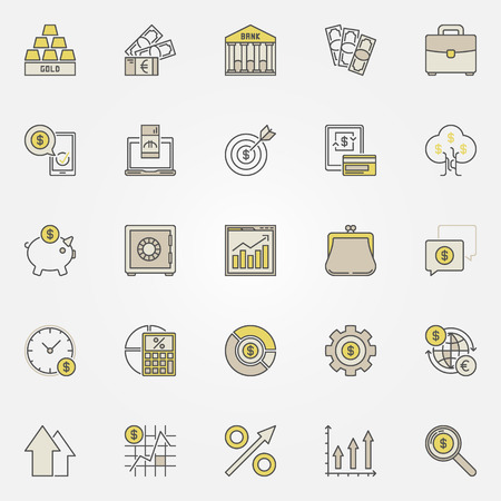 Money and investment colorful icons Vectores