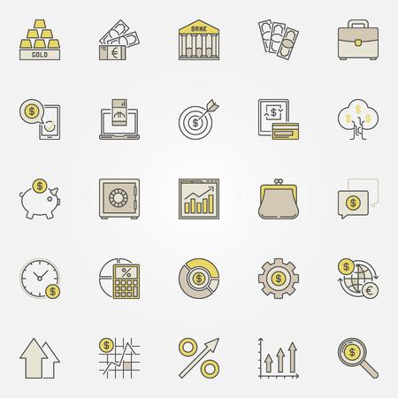Geld en investeringen kleurrijke pictogrammen Stock Illustratie