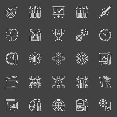 Project management lijn iconen