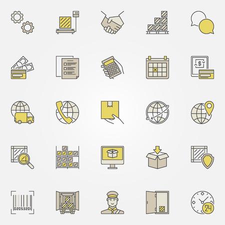 Collection logistique d'icônes colorées Banque d'images - 74133295