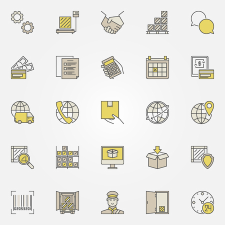 Logistieke kleurrijke iconen collectie