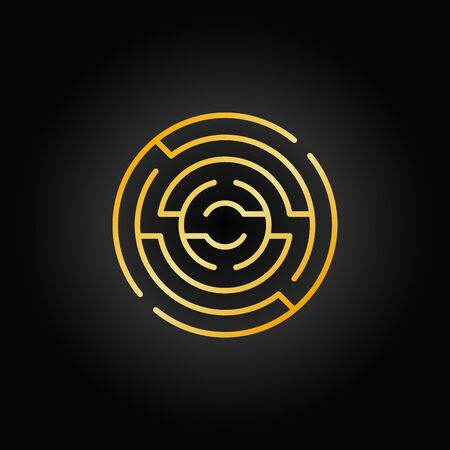 difficult decision: Gold circular maze icon