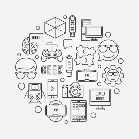 Illustrazione vettoriale rotonda di geek