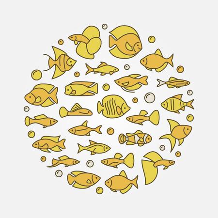 Aquarium fish yellow illustration Illustration