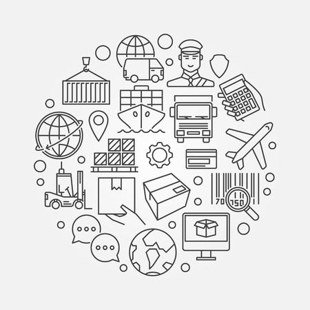 Logistiek en verzending rond illustratie. Vector moderne levering concept teken gemaakt met logistieke schets iconen