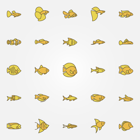 mollienesia: Aquarium fish colorful icons Illustration